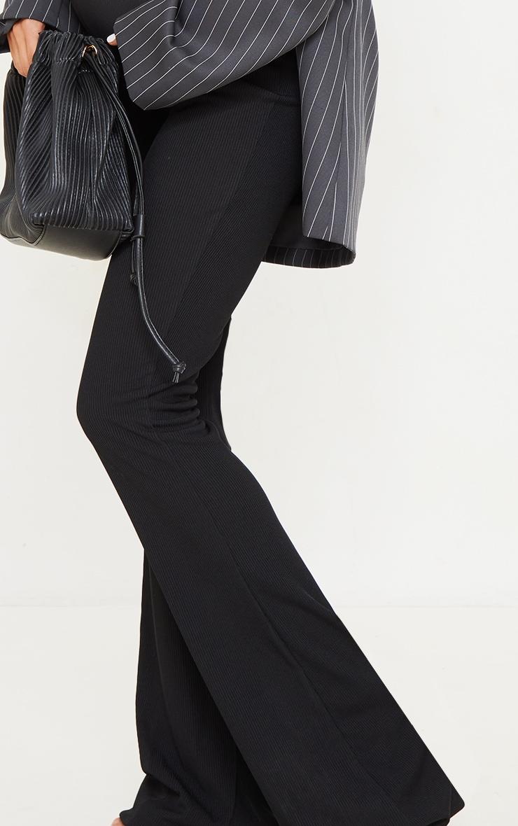 Maternity Black Ribbed Flared Leggings 4