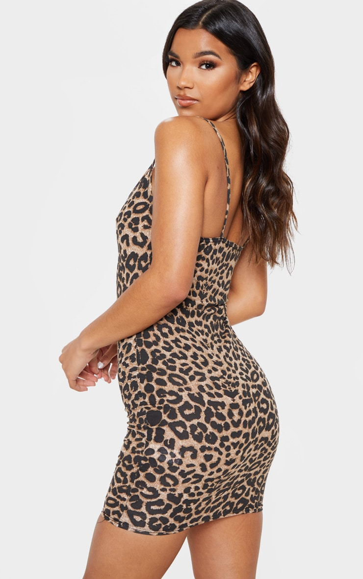 Leopard Print Strappy Plunge Bodycon Dress 2