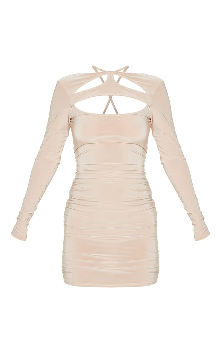 Stone Slinky Chest Cut Out Detail Long Sleeve Bodycon Dress 5