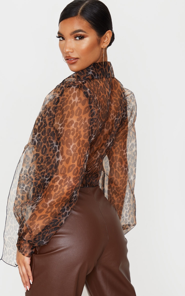 Tan Leopard Sheer Tie Front Cropped Blouse 2