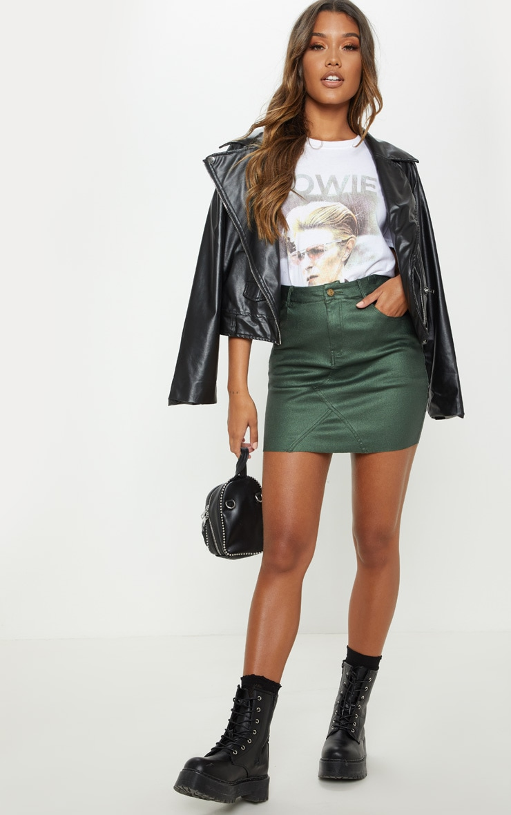 Khaki Coated Denim Skirt