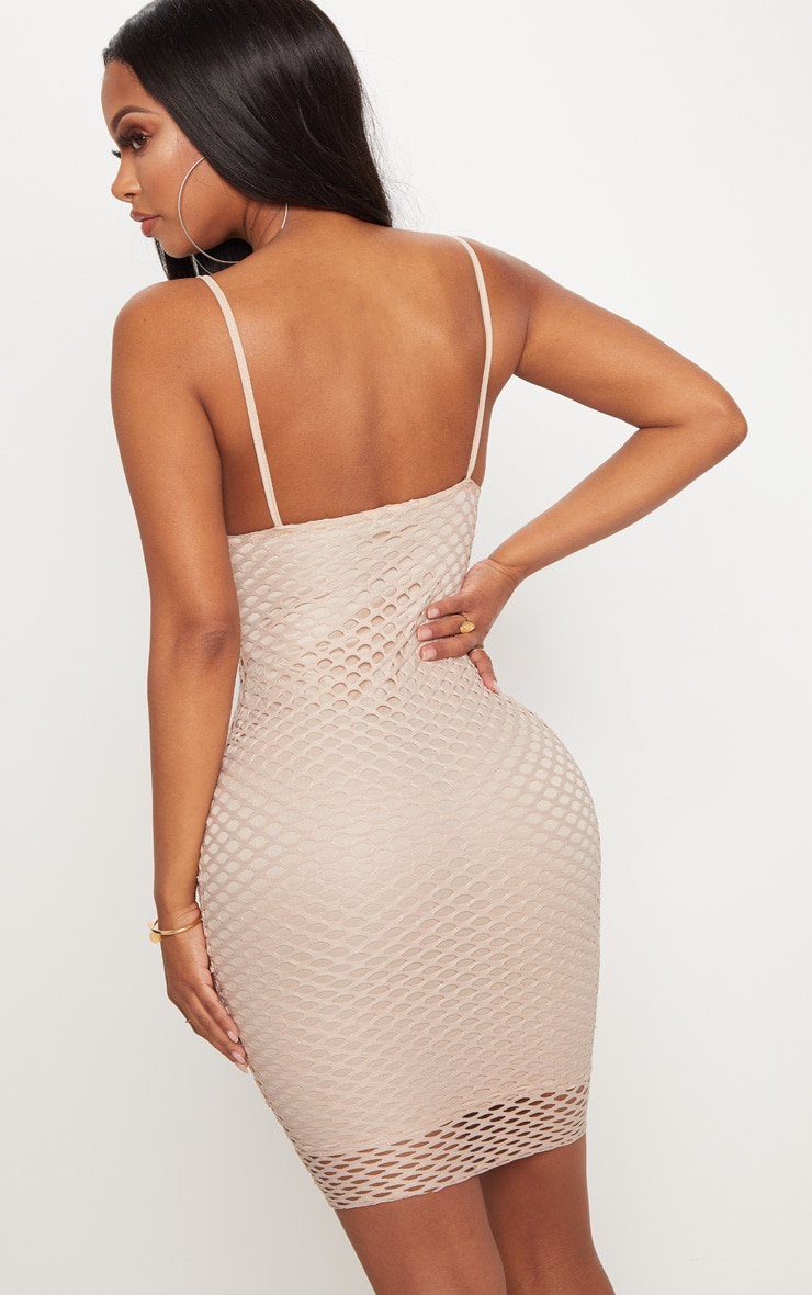 Shape Nude Fishnet Cowl Bodycon Dress 2