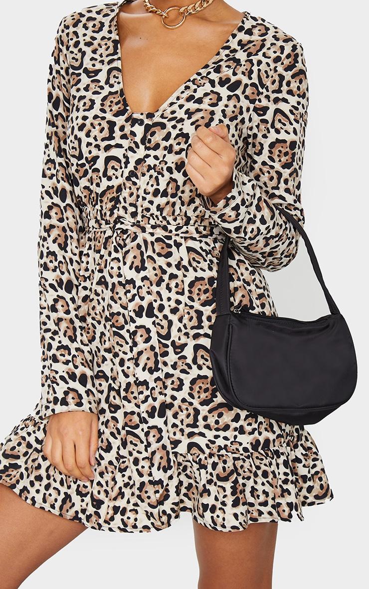 Brown Leopard Print Button Through Frill Hem Tie Waist Shift Dress 4