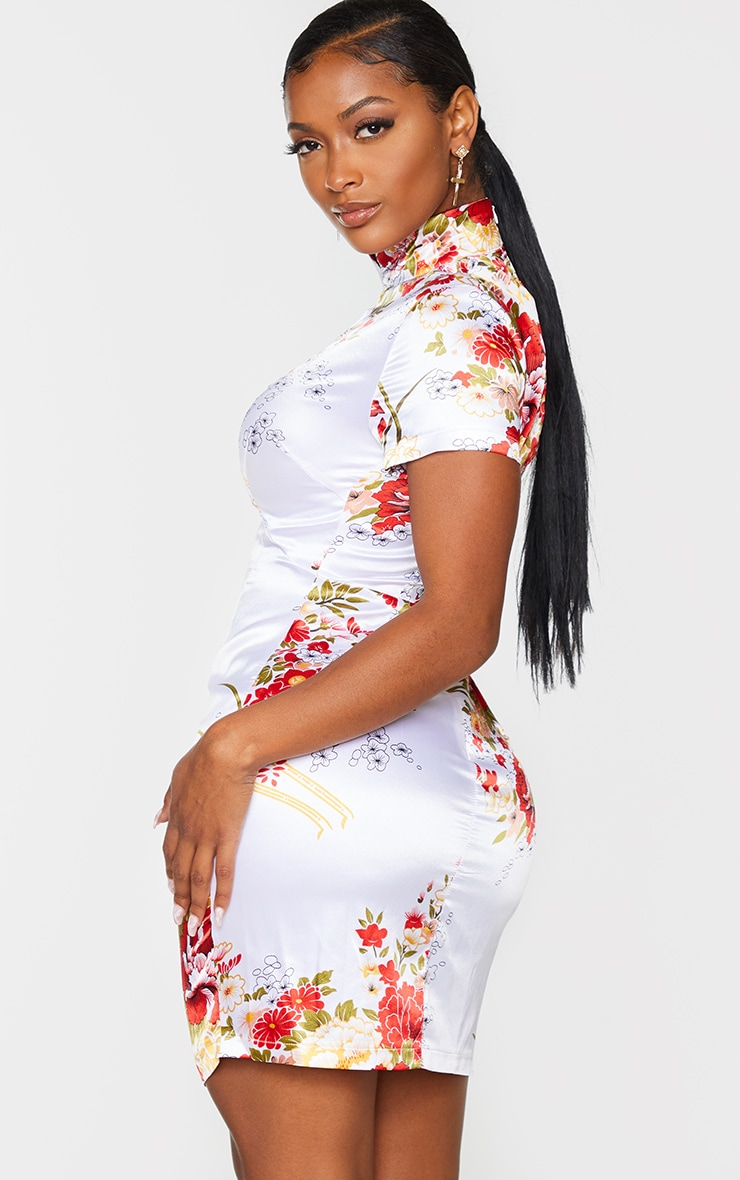 Shape White Floral Print Satin Cut Out Bodycon Dress 2