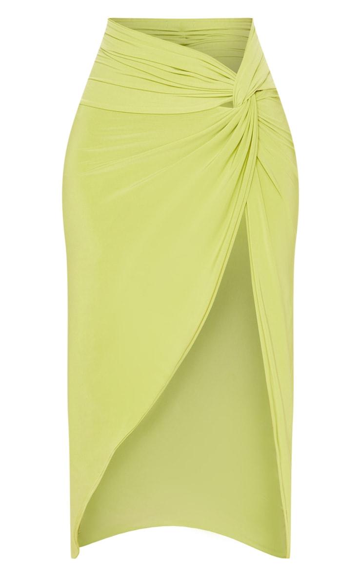 Petite Lime Slinky Knot Front Midi Skirt 3