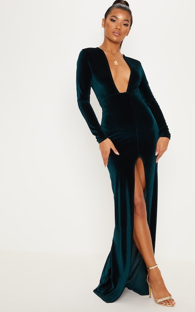 b0c2920778e Emerald Green Velvet Plunge Split Leg Maxi Dress