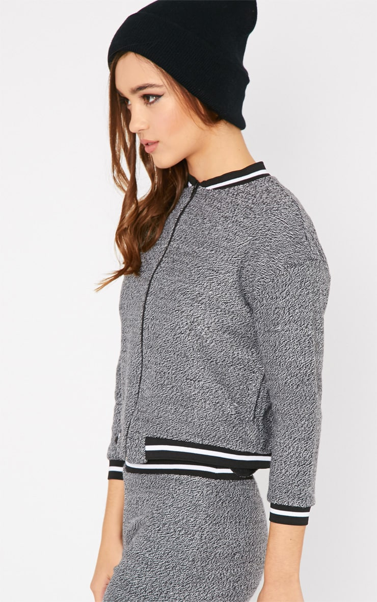 Hollie Grey Boucle Sporty Knitted Bomber 5
