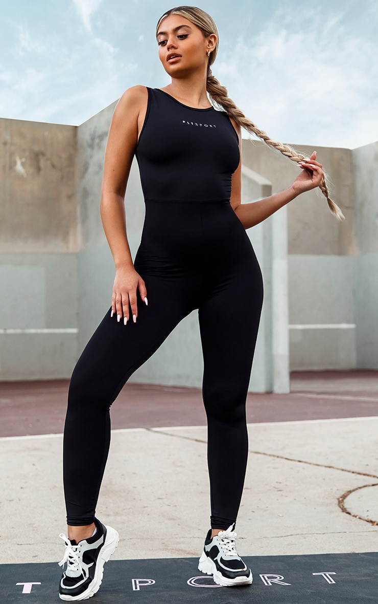 PRETTYLITTLETHING Black Sport High Neck Cut Out Back Unitard