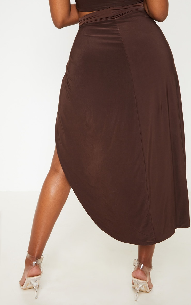 Shape Chocolate Brown Knot Front Split Maxi Skirt 3