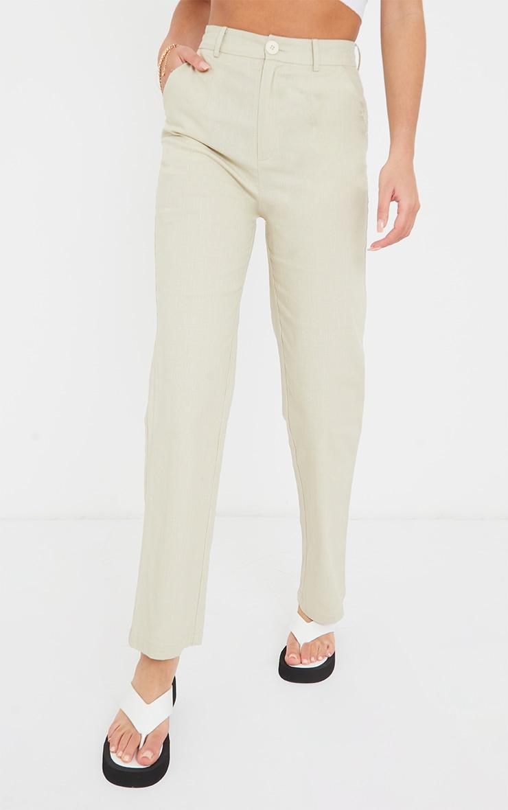 Stone Linen Feel Skinny Trousers 2