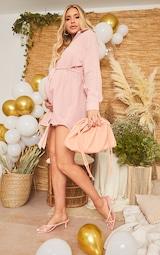 Maternity Pink Checked Oversized Tie Waist Shirt Dress 3