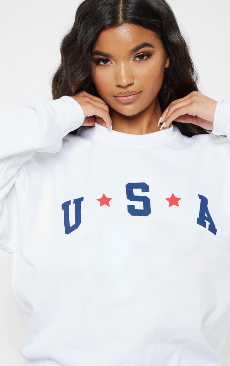 White USA Star Graphic Oversized Sweater 4