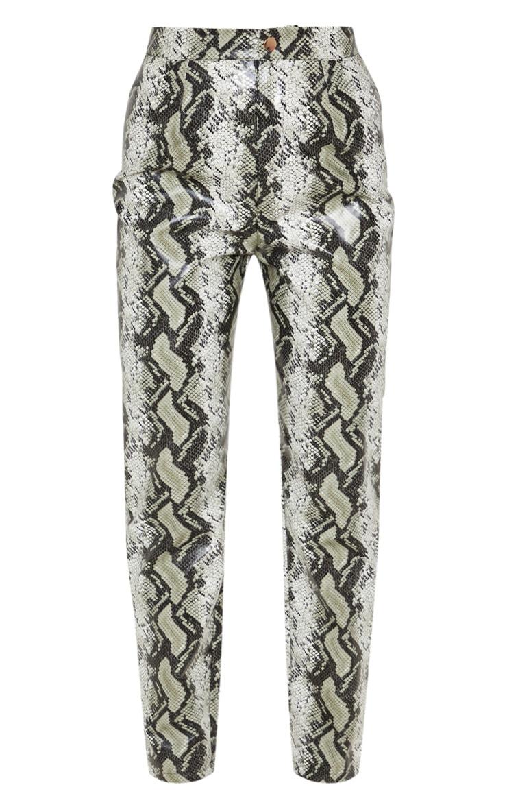 Black Faux Leather Snake Print Slim Leg Trouser  3
