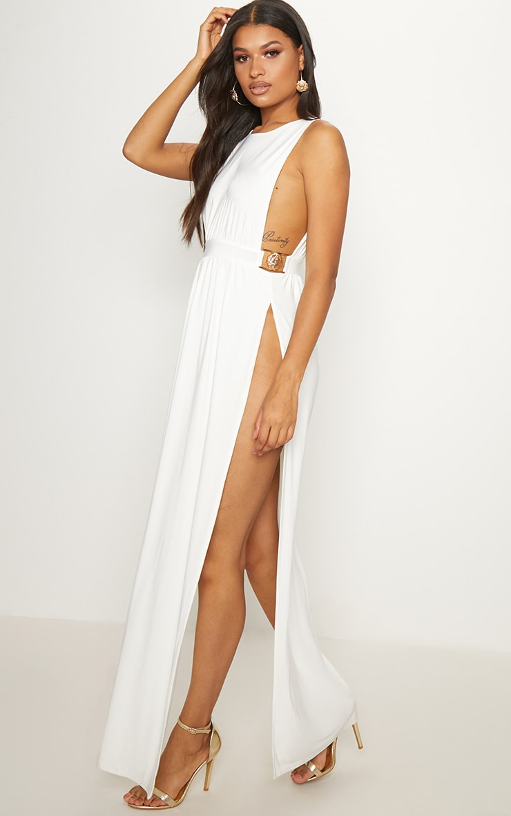 White Lion Buckle Side Boob Extreme Split Leg Maxi Dress