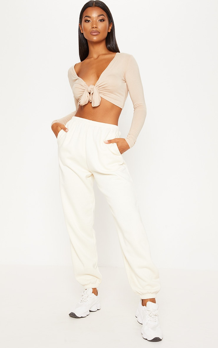 Stone Long Sleeve Tie Front Crop Top 1