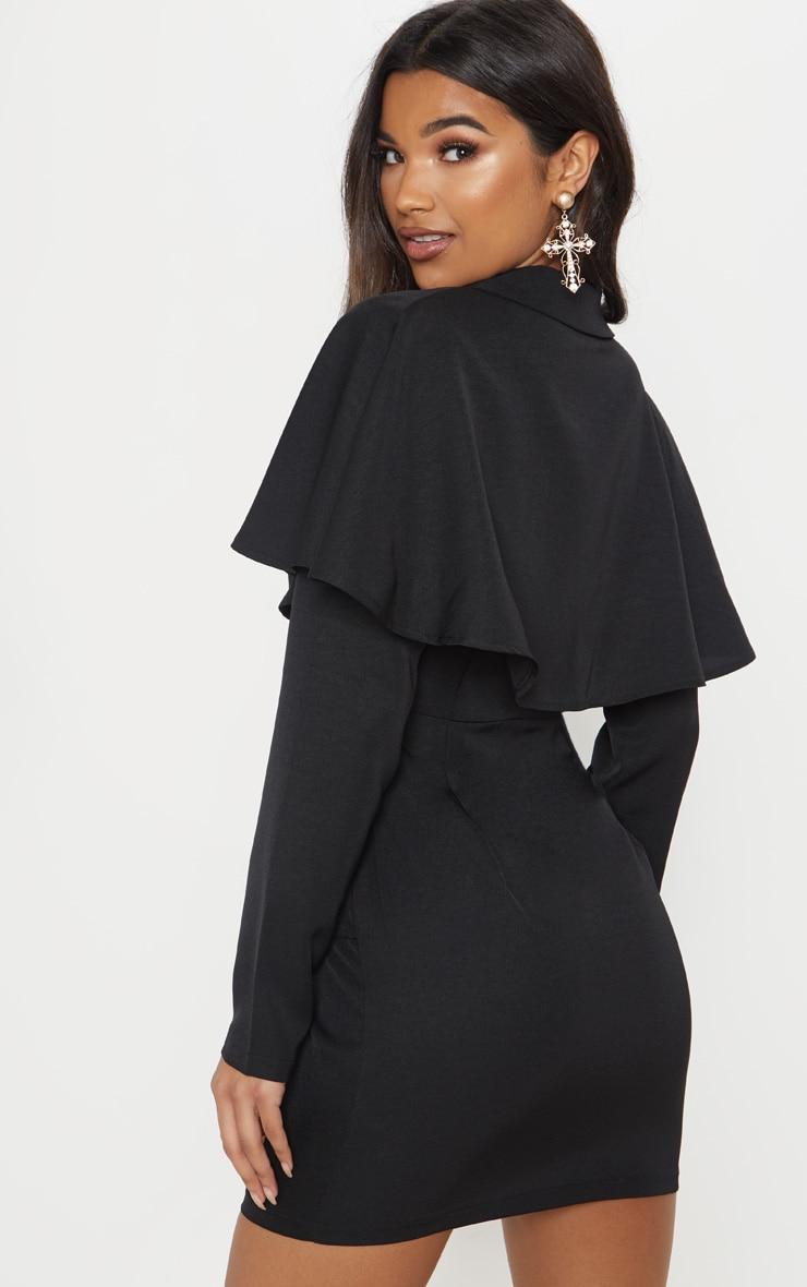 Black Cape Blazer Style Bodycon Dress 2