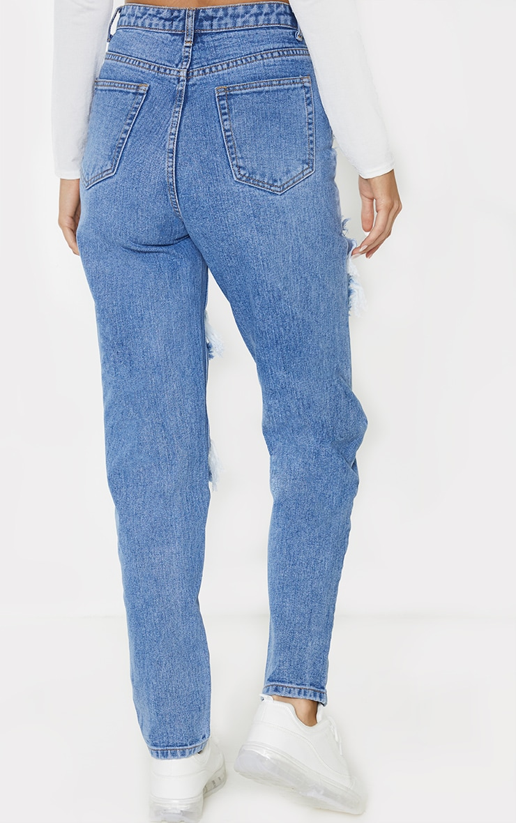 PRETTYLITTLETHING Tall Mid Blue Distressed Mom Jean 3
