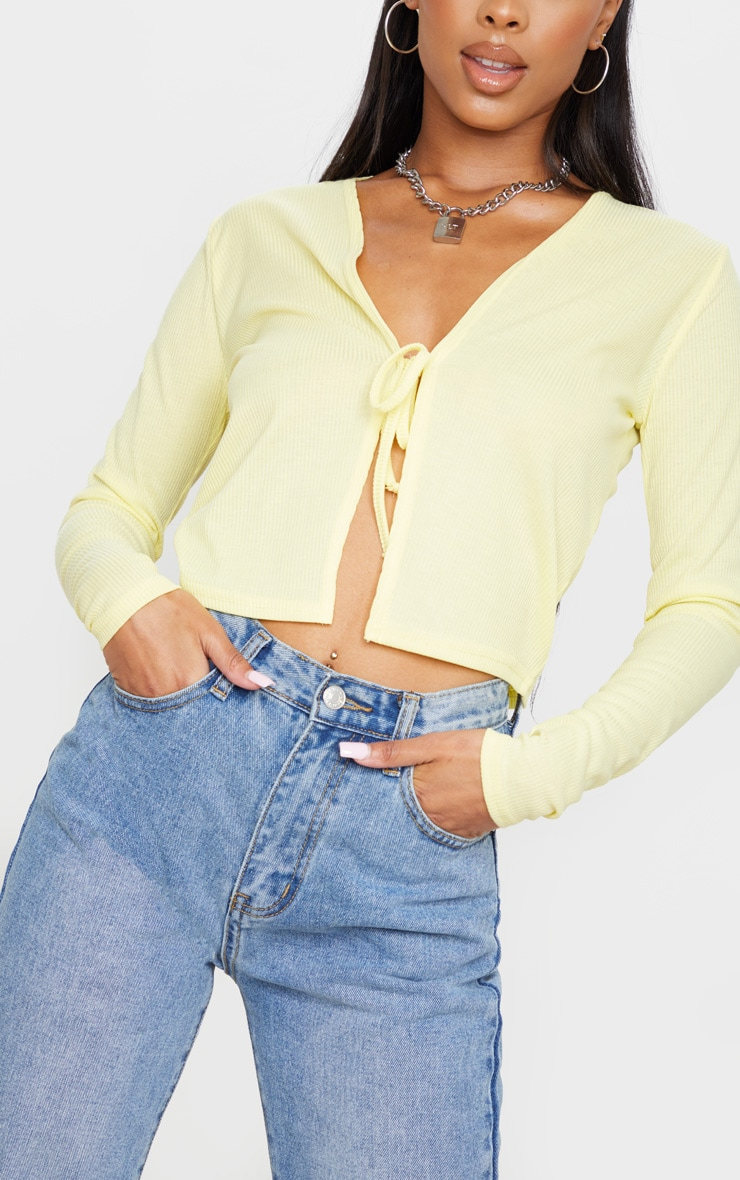 Lemon Rib Tie Front Long Sleeve Crop Top 4