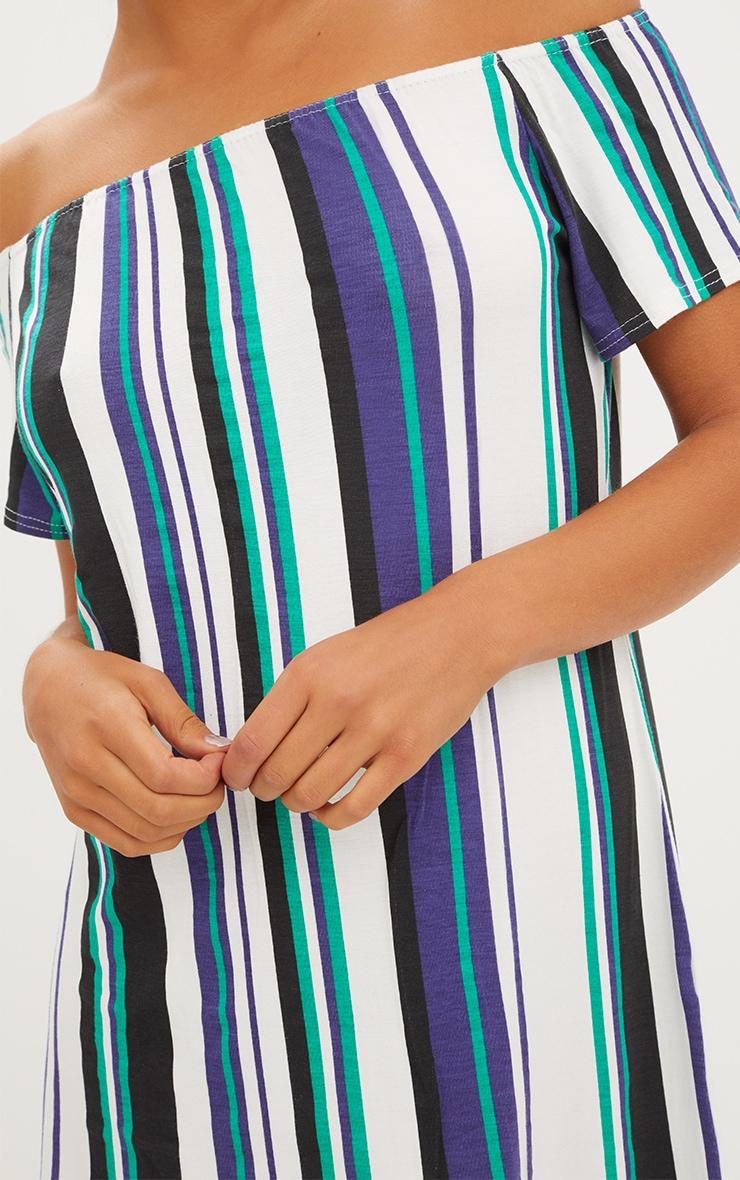 Green Striped Bardot Shift Dress 5