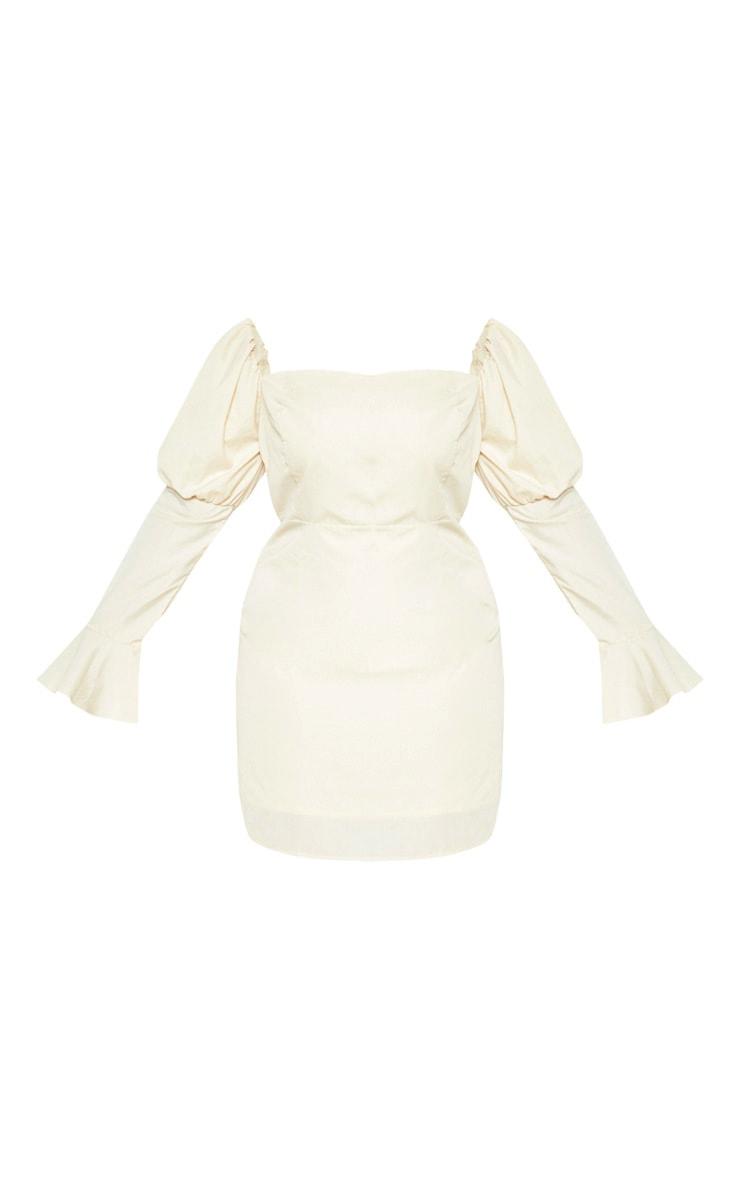 Plus Stone Bardot Puff Sleeve Tea Dress 3