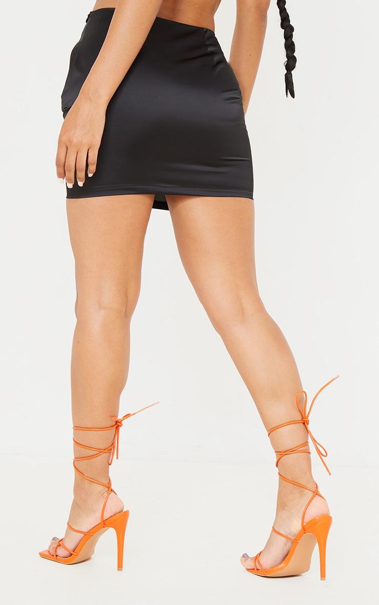 Black Satin Mini Suit Skirt 3