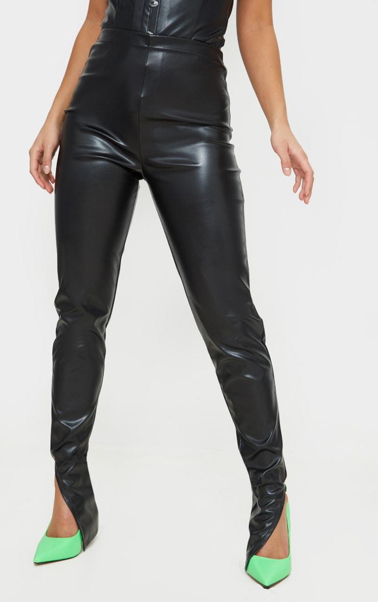 Petite Black Faux Leather Split Hem Leggings 2