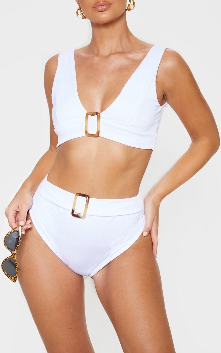 White Crinkle Belt Waist Bikini Bottom
