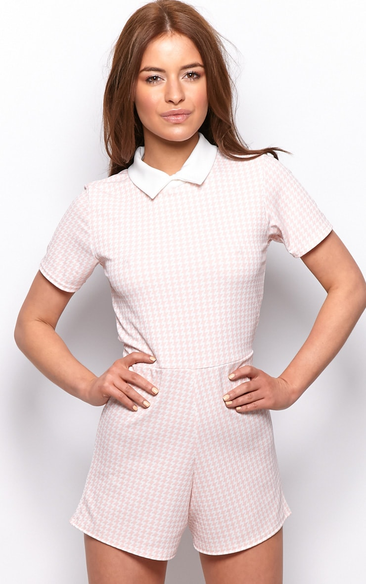 Sara Pink & White Dogtooth Playsuit 1