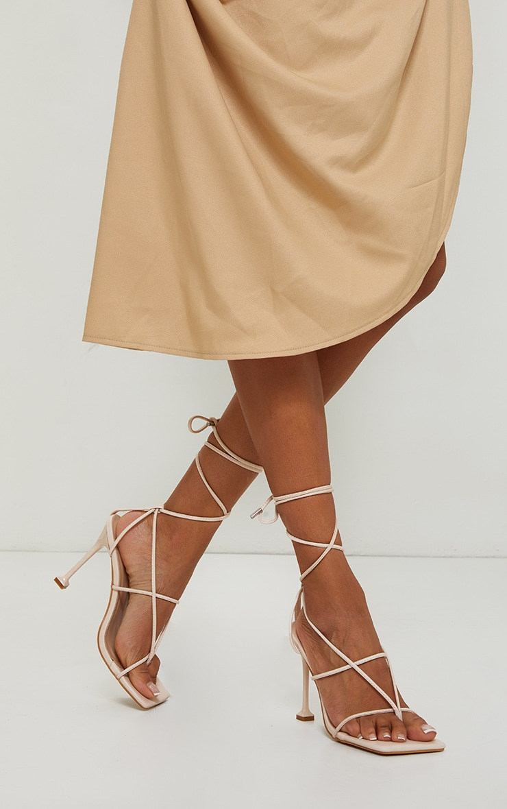 Beige Square Toe Strappy Lace Up Toe Thong High Heels Sandals 1