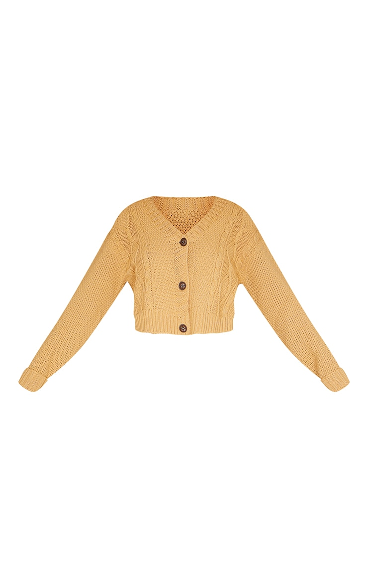 Camel Cable Cropped Cardigan 5