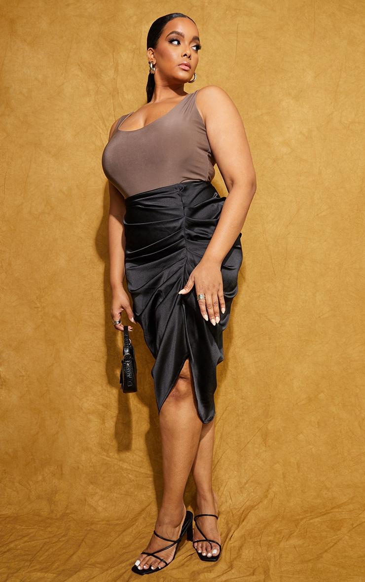 Plus Black Satin Ruched Split Midi Skirt 1