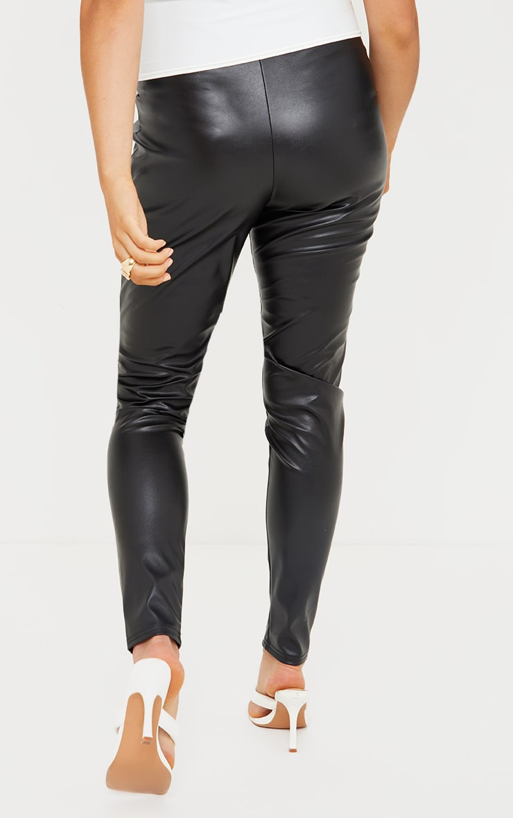 Maternity Black Faux Leather Leggings 3