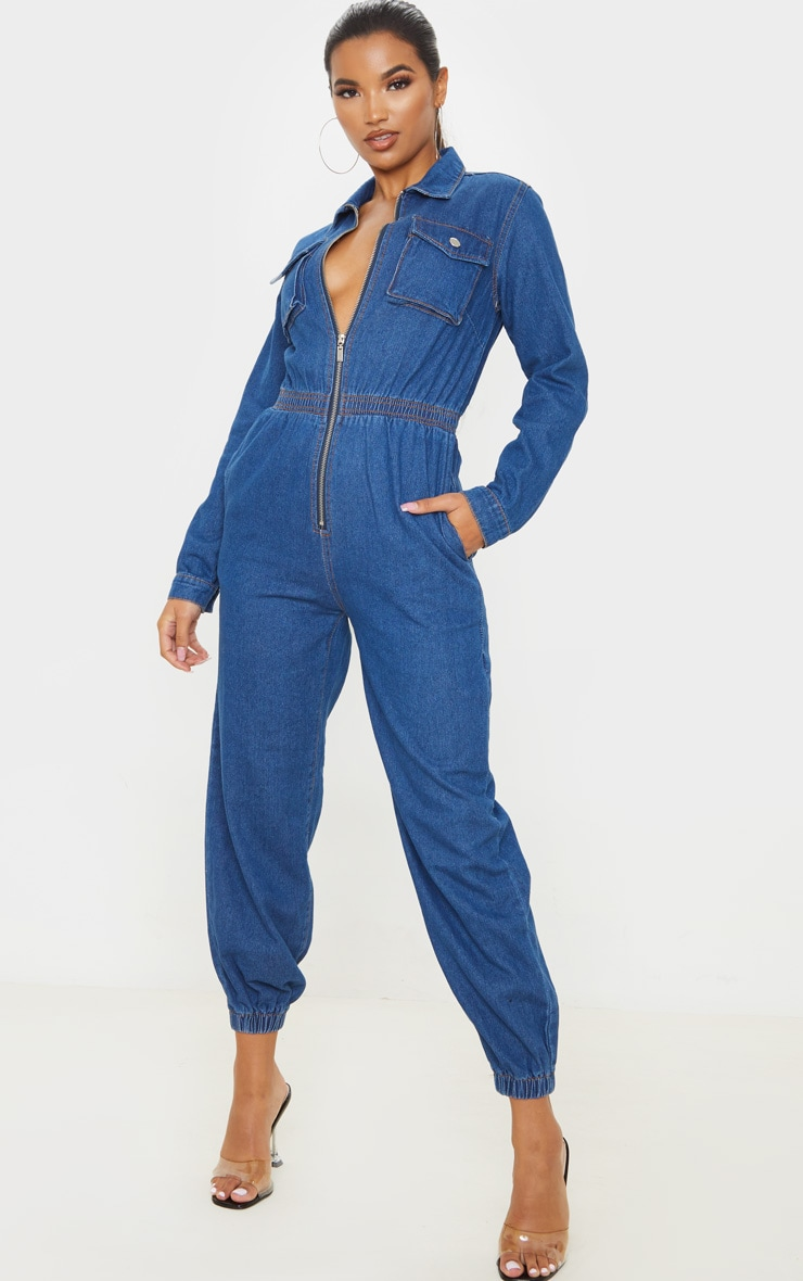 Mid Wash Zip Front Denim Jumpsuit