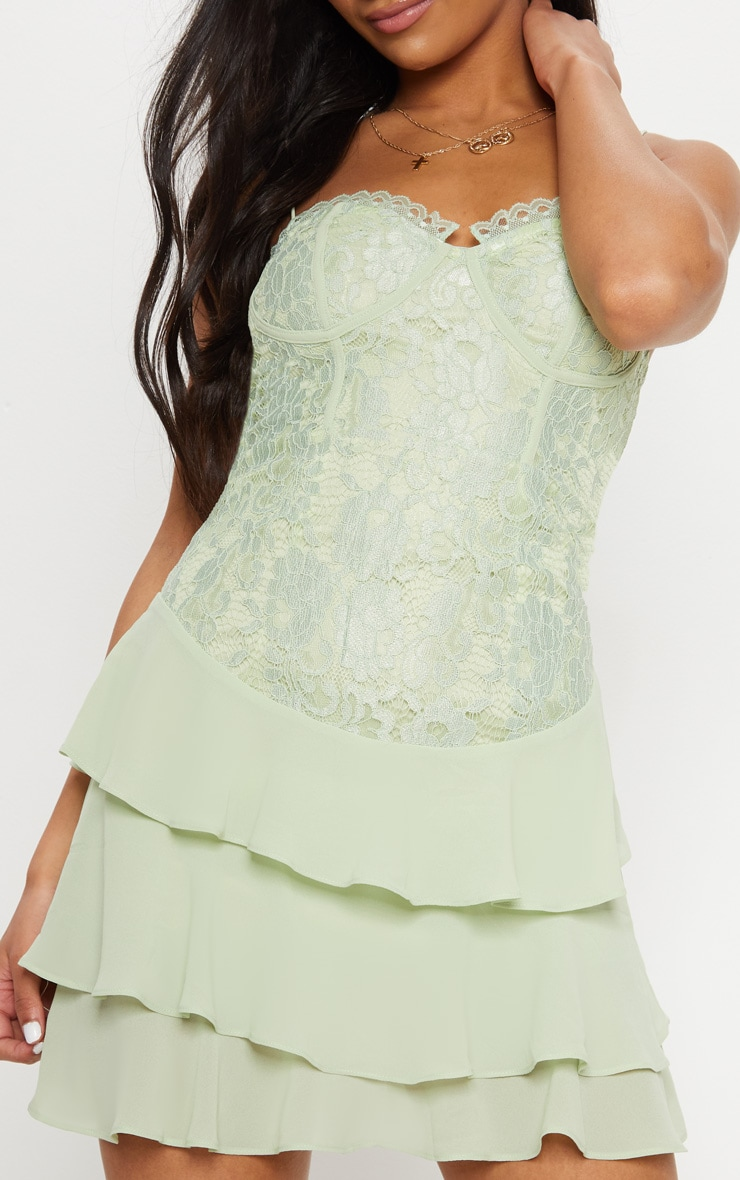 Sage Green Lace Chiffon Tier Skater Dress  5