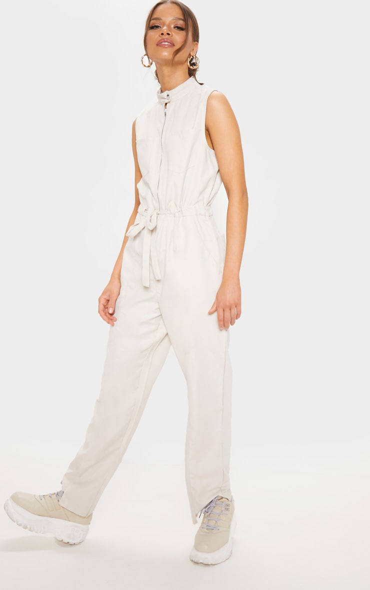 Cream Faux Suede High Neck Zip Detail Jumpsuit 4