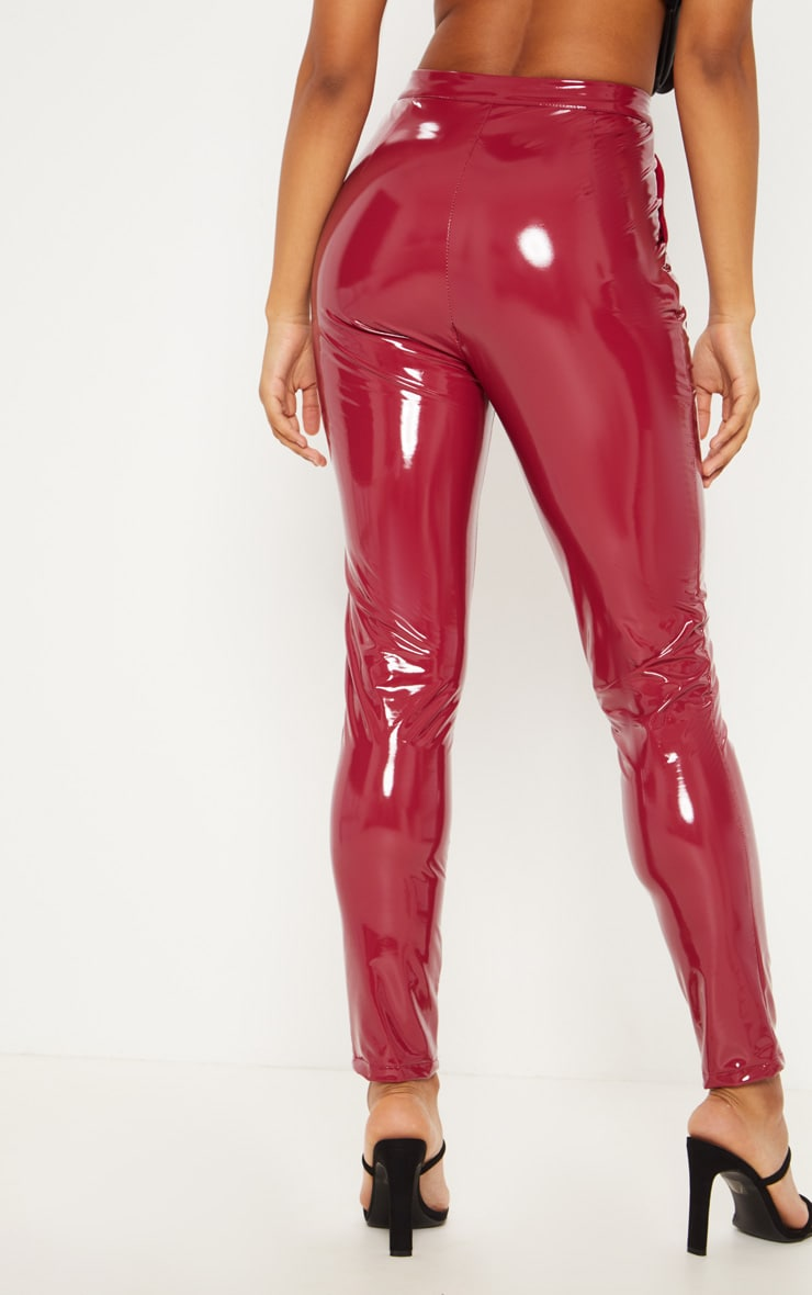 Tall Burgundy Vinyl Slim Leg Pants 4