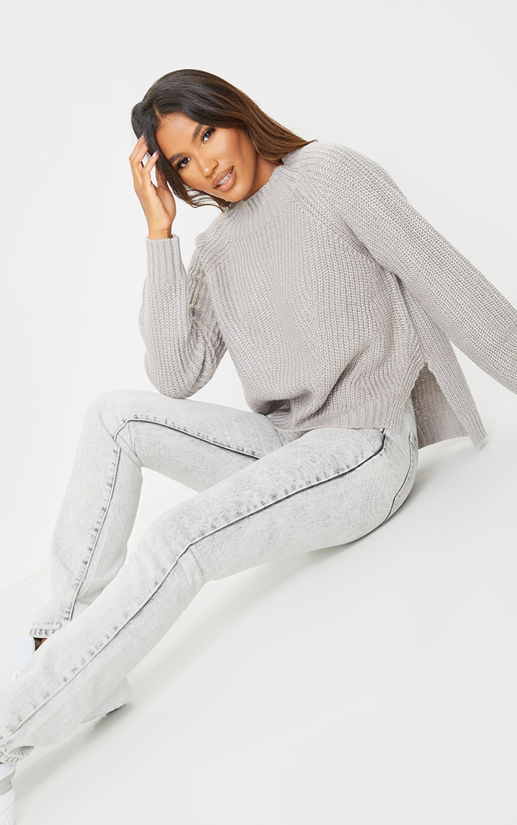 Grey Soft Knit Balloon Sleeve Funnel Neck Sweater 1