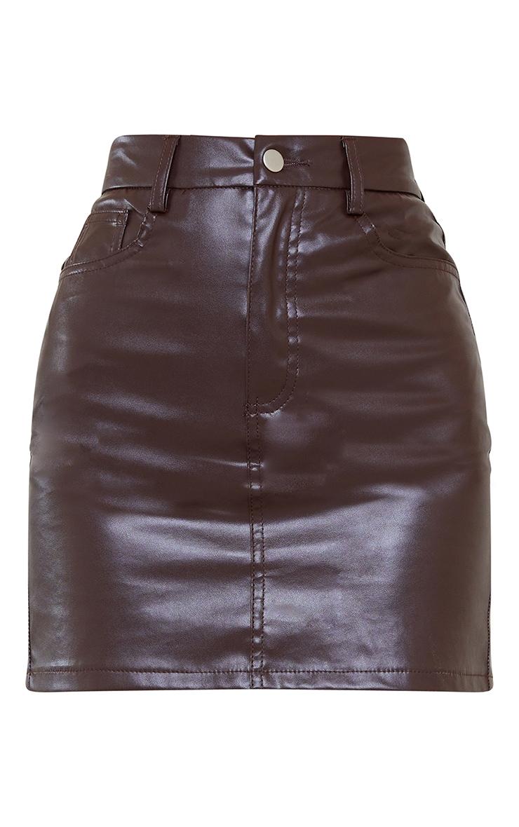 Chocolate Basic Faux Leather Mini Skirt 5
