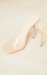 Nude Wide Fit Clear Strap Heeled Mules 4