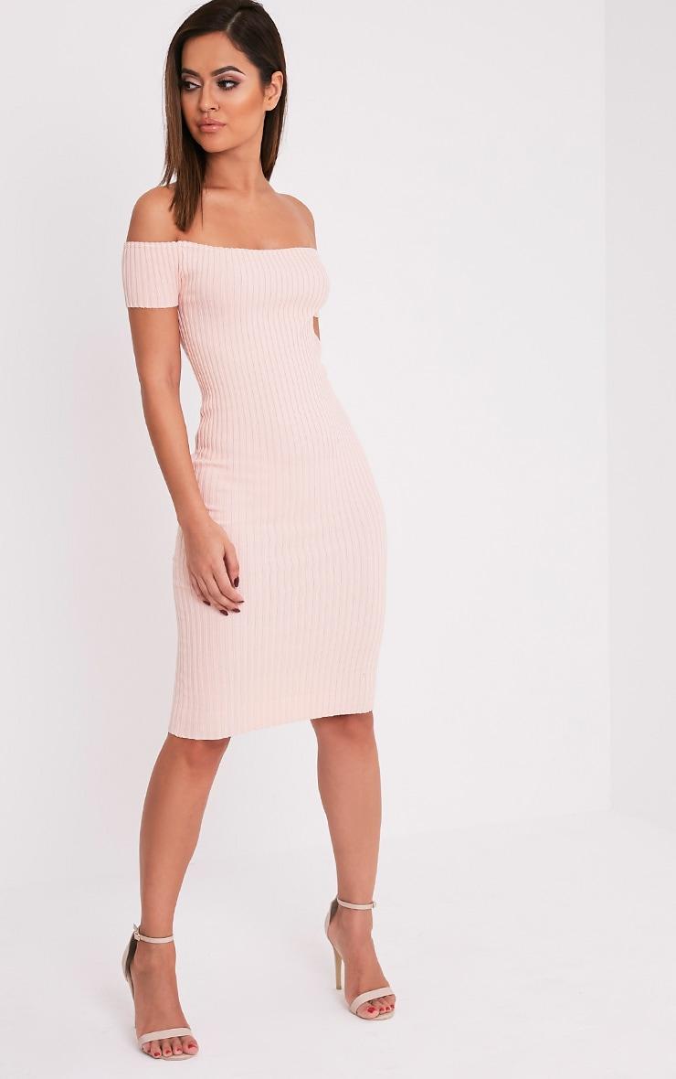 7f610306f5e Erin Nude Bardot Ribbed Knited Midi Dress - Knitwear ...
