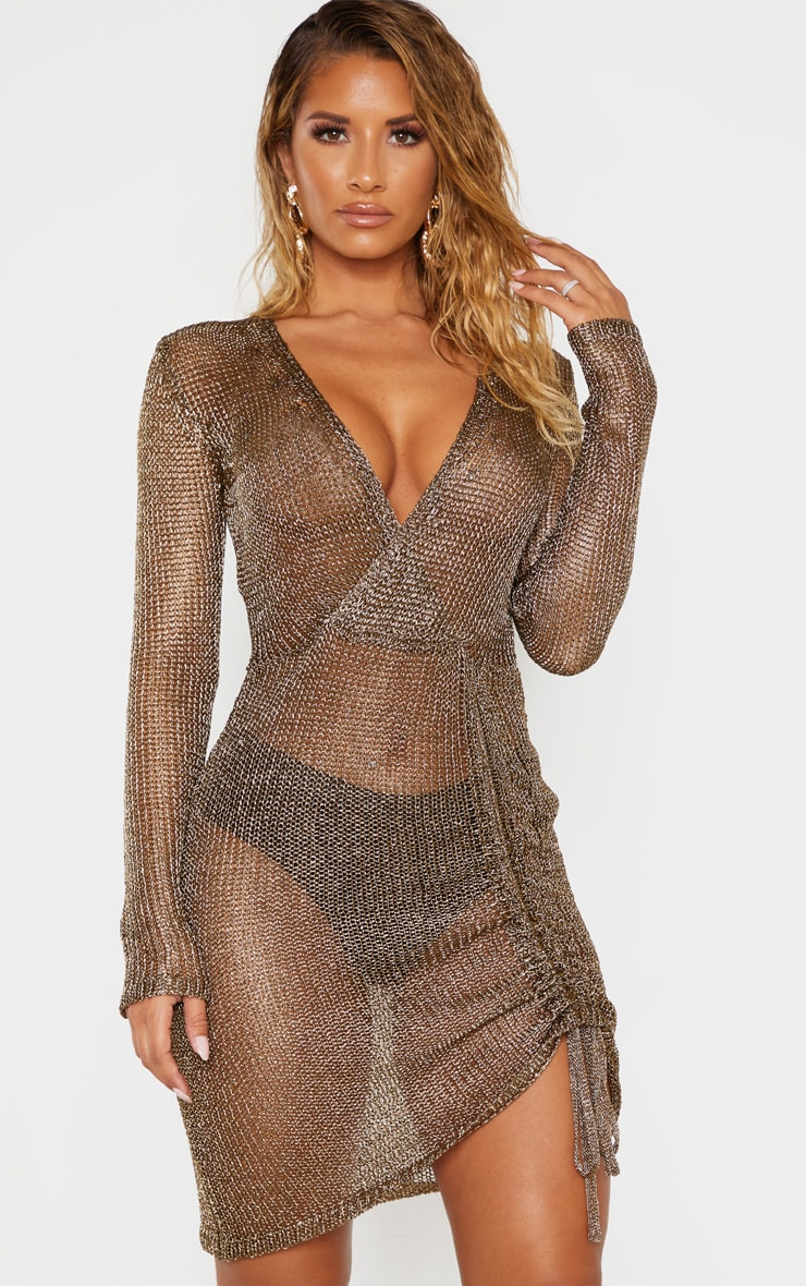 Bronze Metallic Knitted Wrap Front Dress 1