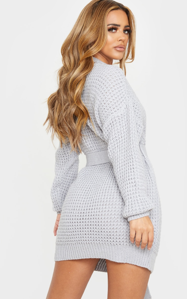 Petite Grey Soft Touch Belted Knitted Jumper Dress 2