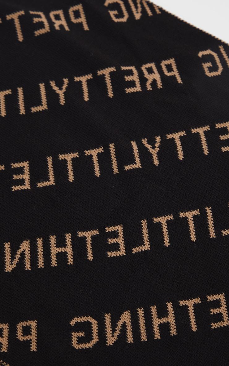 PRETTYLITTLETHING - Echarpe noisette à slogan 3
