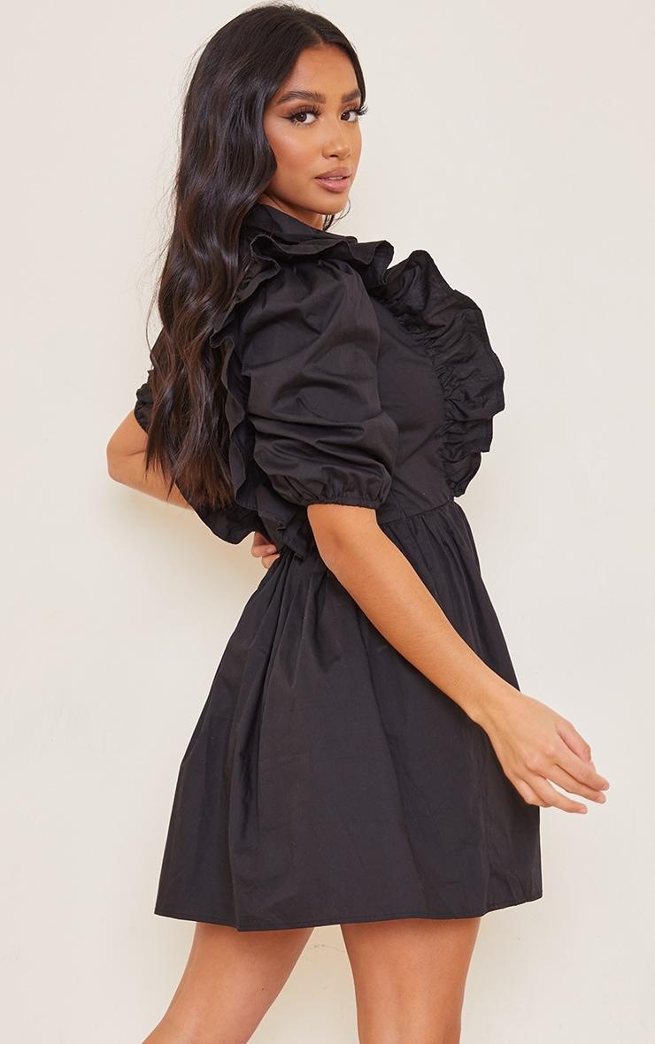 Petite Black Ruffle Detail Shirt Dress image 2