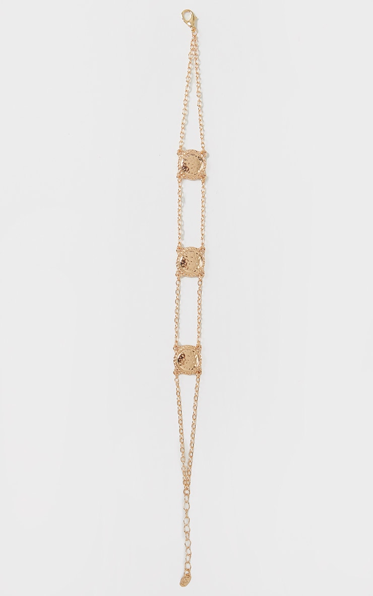 Gold Textured Circular Chain Anklet 2