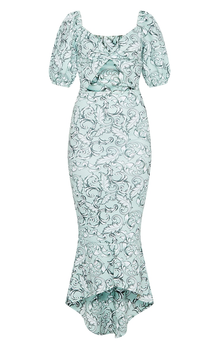 Green Jacquard Print Twist Detail Puff Sleeve Midi Dress 5