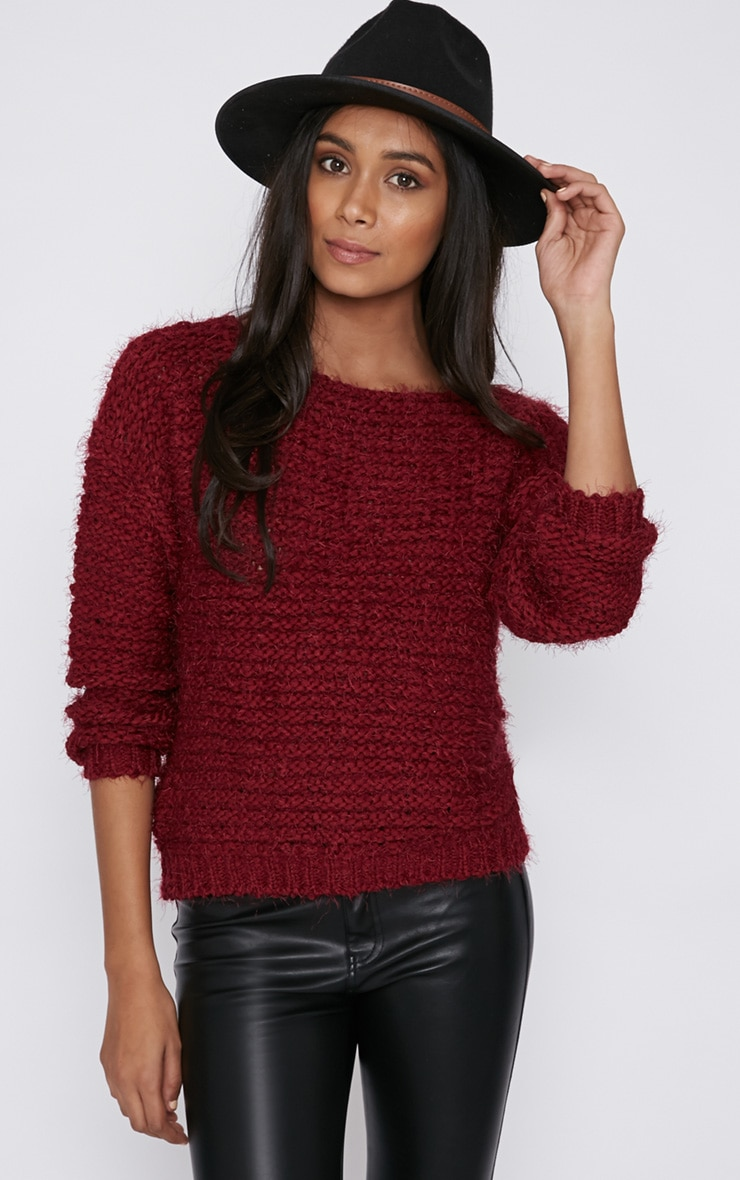 Hadley Burgundy Cropped Jumper  5