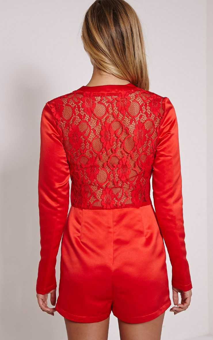 Lysa Red Satin Lace Back Playsuit 3