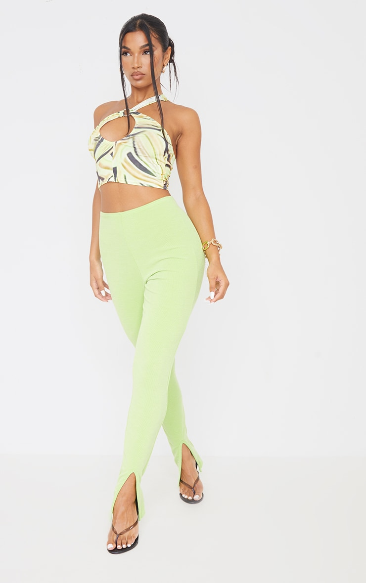 Lime Abstract Leaf Print Slinky Asymmetric Cut Out Crop Top 3