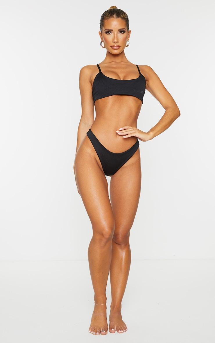 Black Crinkle Brazilian Thong Bikini Bottom